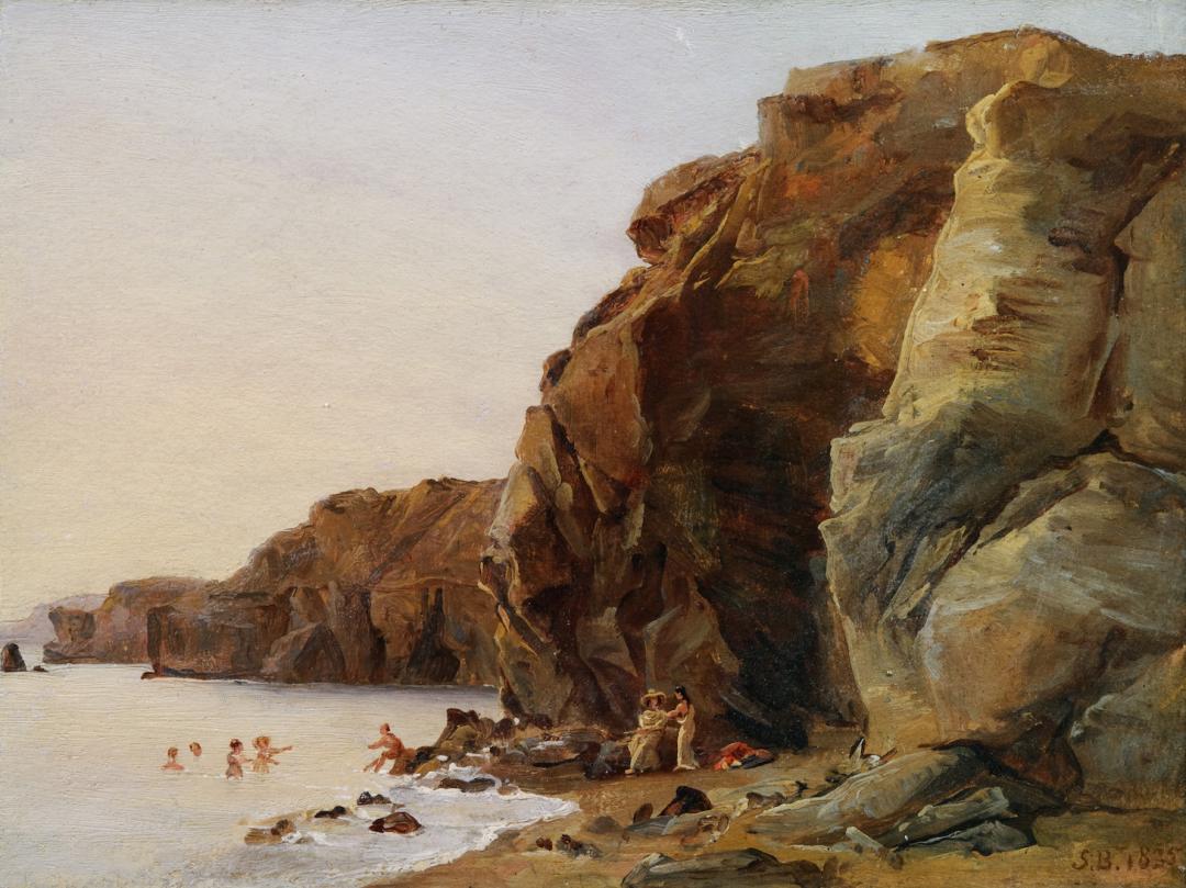 """لوییز ژوزفین سارازین دو بلمونت، """"ساحل صخره ای و آبتنی کنندگان""""،۱۸۳۵، رنگ روغن روی مقوا"""