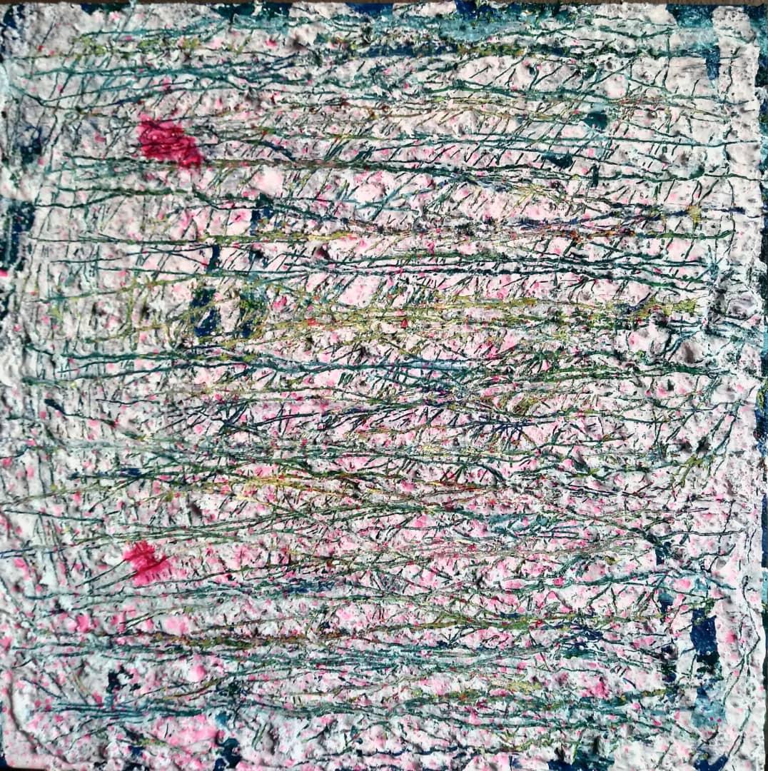 ترکیب مواد روی بوم, ۲۵×۲۵ سانتیمتر, ۱۳۹۸